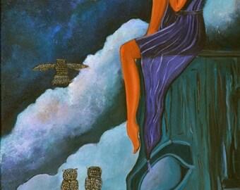 "Wisdom (Print 5"" x 10"" ) Figurative Art, Symbolic Art, Story Telling Art, Inspirational Art, Art with Owls, Totem pole, Native Art, Wall art"