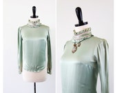 vintage victorian silk blouse // 1970s Sage Green Silk Blouse with Ruffles and Pink Velvet Trim
