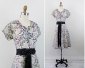 vintage 1950s 50s dress // Sheer White, Pink, and Purple Floral Dress with Heart Shaped Patch