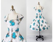 r e s e r v e d - vintage 1950s 50s dress // Blue Roses Sundress with Front Zipper and Bows