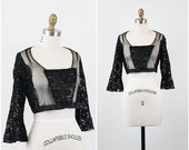 1920s blouse / 20s blouse / Sheer Black Lace and Mesh Cropped Blouse