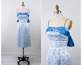 vintage 1960s dress / 60s dress / Blue and Silver Satin Cocktail Dress with Rhinestone Clip