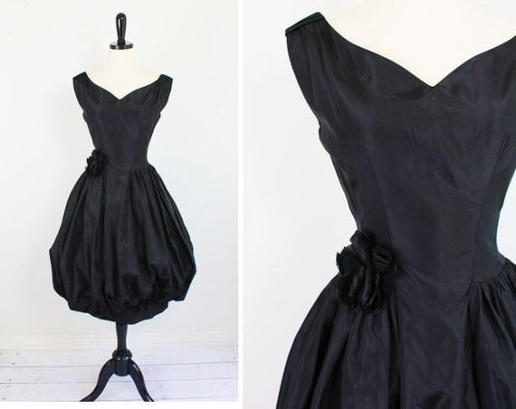 r e s e r v e d - vintage 1950s 50s dress // 1950's Black Emma Domb Cocktail Dress - designer couture