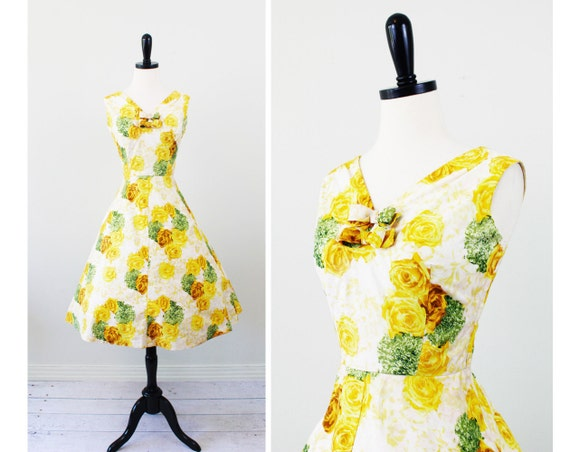 vintage 1950s 50s dress // Canary Yellow Roses Floral Party Dress with Pockets and Bows