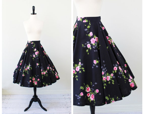 r e s e r v e d - vintage 1950s 50s skirt circle skirt // Black and Painted Pink Roses Floral Circle Skirt