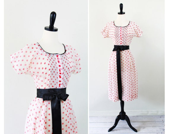 vintage 1940s dress // 40s Sheer White and Red Polkadots Dress with Tiny Red Sweet as Pie Buttons