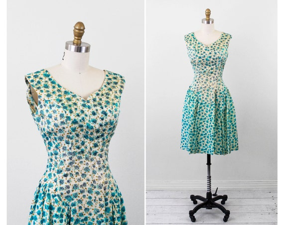 vintage 1940s 40s dress // Blue and Cream Floral Dress with Sequins and Sweetheart Neckline