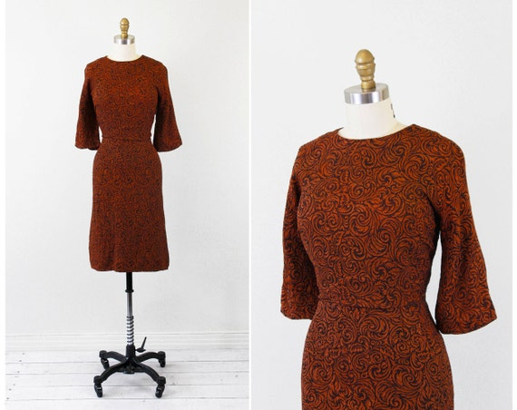 vintage Mad Men dress // 50s 60s Rust and Brown Swirls Wiggle Dress
