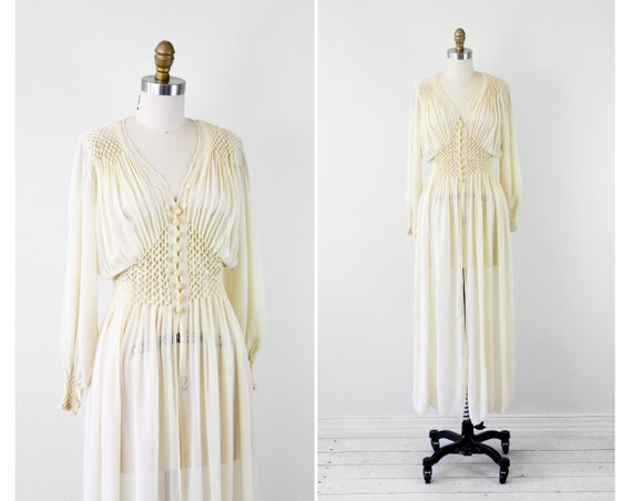 vintage 1930s 30s wedding dress // Antique White Silk Chiffon Wedding Dress Robe with Floral Embroidery