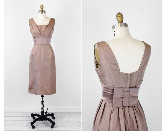 1950s dress / 50s cocktail dress / Toffee Brown Evening Dress with Bows and Bustle Back