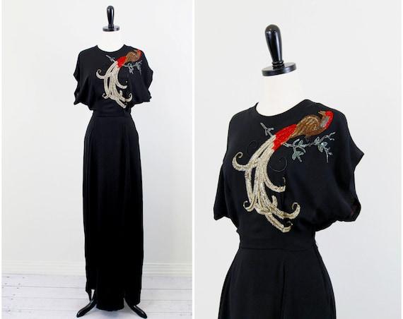r e s e r v e d - 1930s dress / CEIL CHAPMAN dress / Black 30s 40s Gown with Elaborately Hand Beaded Phoenix Bird