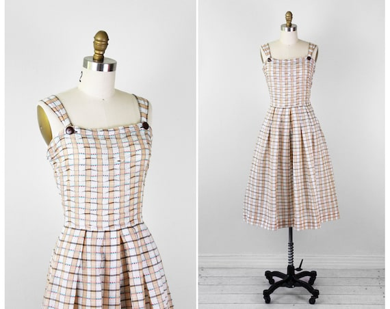 1950s dress / 50s dress / Tan and White Checkered Sundress with Large Buttons