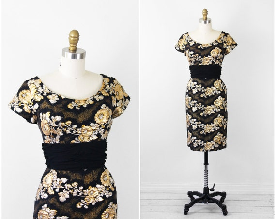 vintage 1950s dress / 1960s dress / Black, Gold, and Silver Floral Shimmer Print Wiggle Cocktail Dress with Chiffon Waistband