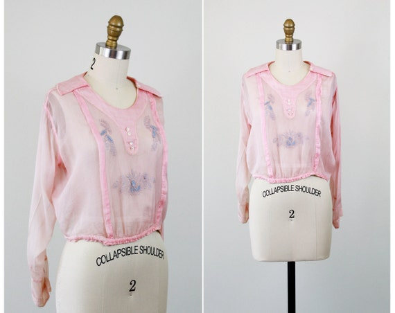 Edwardian blouse / pink chiffon blouse / 1910s 1920s Handmade Blouse with Sky Blue Embroidery