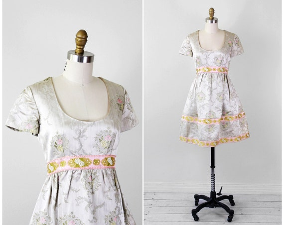 vintage 1960s dress / 60s dress / Silver and Pink Silk Floral Marie Antoinette Cocktail Dress with Pockets
