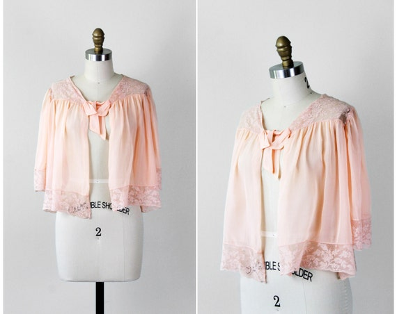 1930s bed jacket / 30s lingerie / Pale Pink Chiffon and Lace Bed Jacket with Bow
