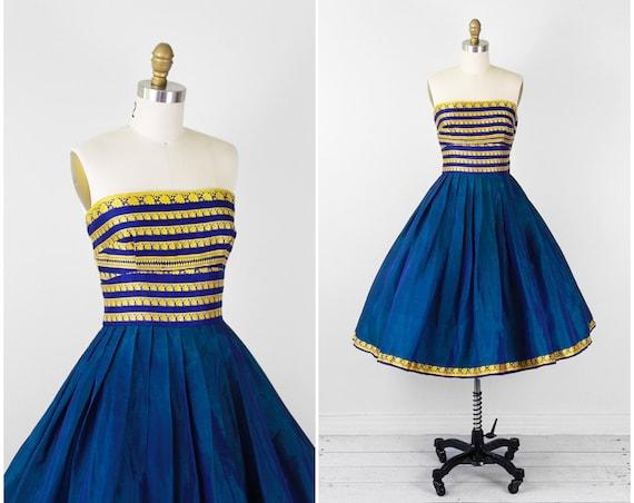 1950s dress / 50s dress / Blue, Teal, and Gold Indian Sari Strapless Cupcake Dress