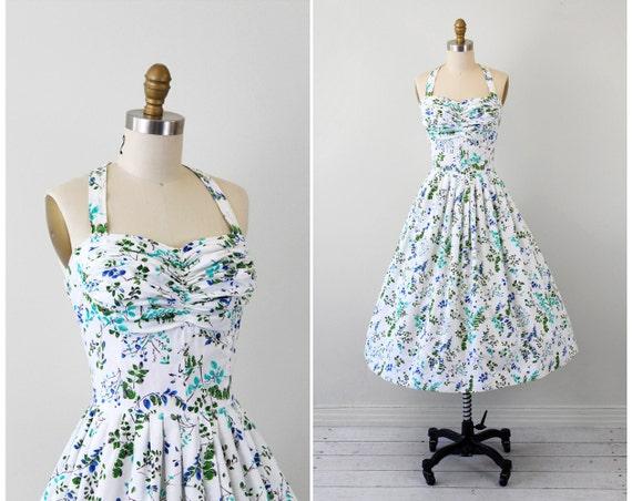 vintage 1950s dress / 50s floral dress / White, Blue, and Green Pinup Halter Dress