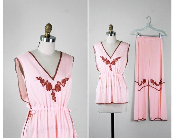 1930s pajamas / 30s pajamas / Pink and Lace 1930s style Loungewear