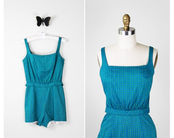 50s romper / 1950s playsuit / Teal Striped Pinup Playsuit Romper