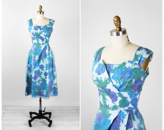 r e s e r v e d - vintage 1950s dress / 50s floral dress / Blue and Purple Floral Cocktail Dress with Organza Overlay