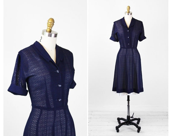 1940s dress / 40s dress / Navy Blue Sheer Day Dress with Rhinestone Buttons