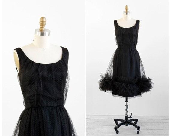 r e s e r v e d - 1950s dress / 50s black dress / Black Polkadots Sheer Ruffle Cocktail Dress