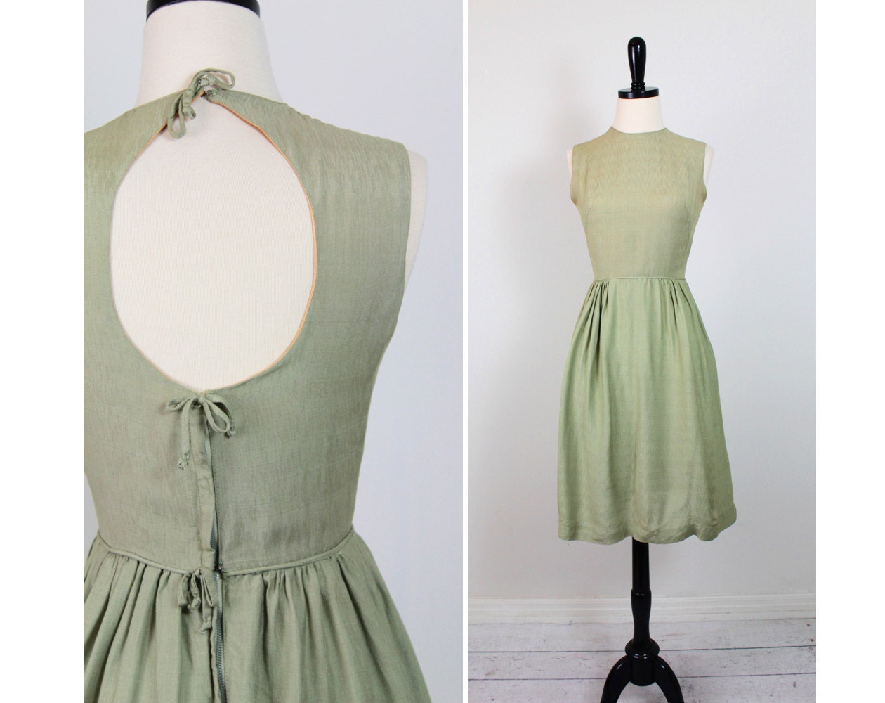 Vintage 50s 60s Dress // Green Cocktail Dress With Darling