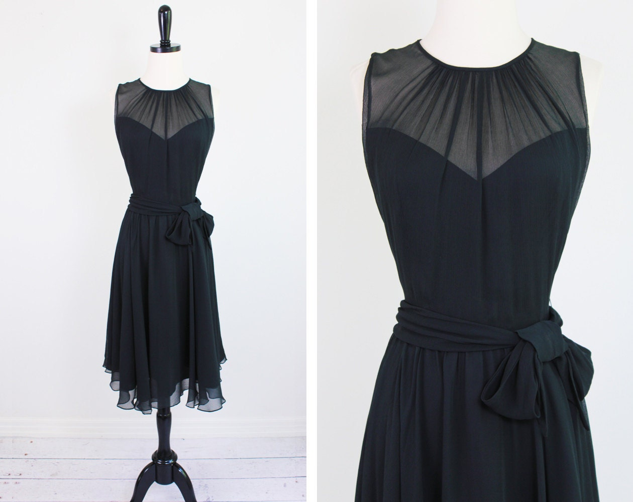 r e s e r v e d  black chiffon cocktail dress // by RococoVintage