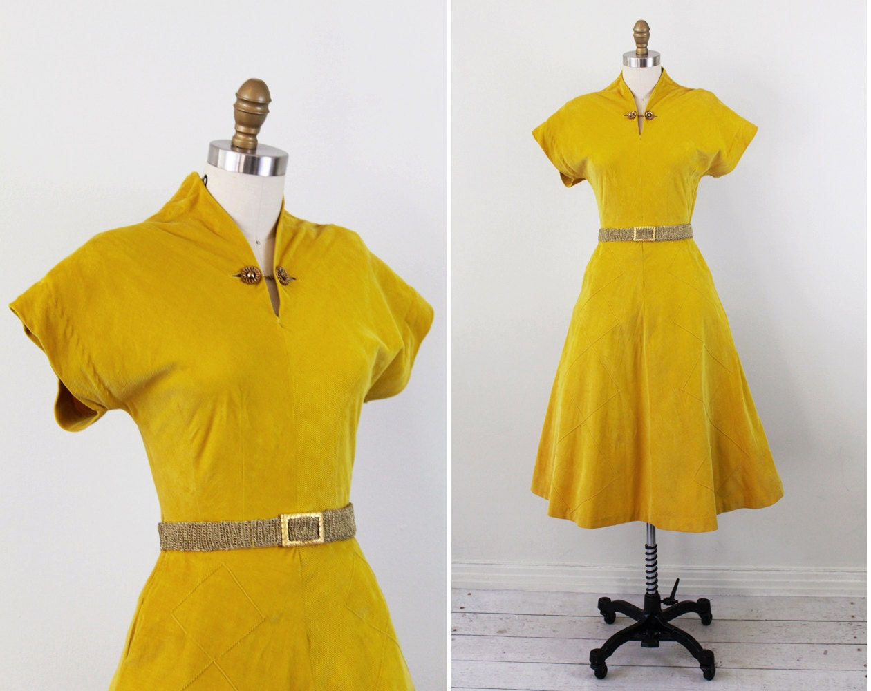 Vintage 1940s Dress Mustard Colored Corduroy Day Dress With