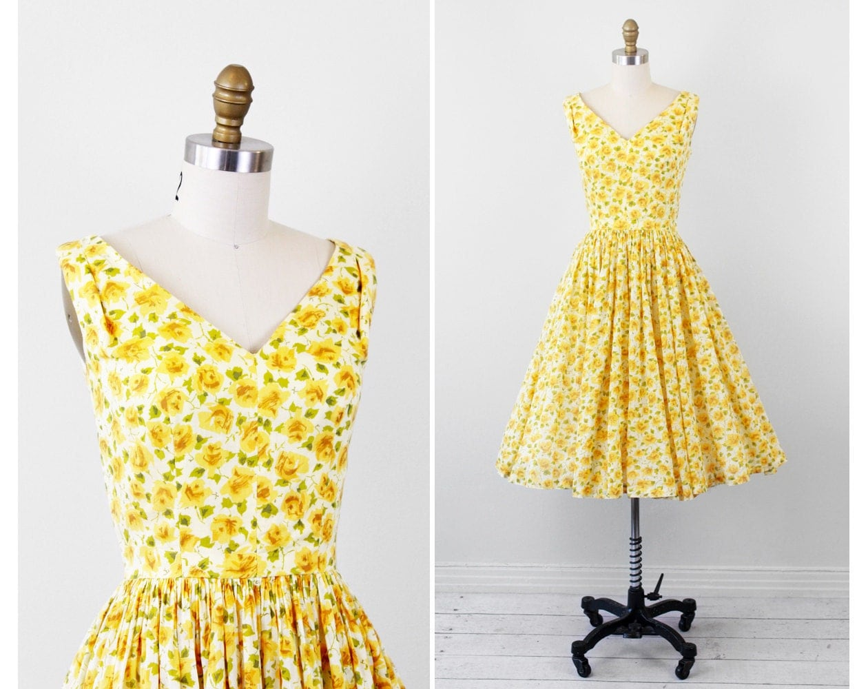 Vintage 1950s 50s Dress // Sheer Yellow Floral Cotton Sundress