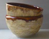Rice Bowls - Handmade Ceramic Bowls in Deep Cherry and Oatmeal Glaze- Pair of Two Pottery Bowls - Rice Bowls