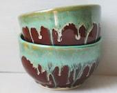 Handmade Tea Bowls - Pair of Ceramic Tea Cups - Wheel Thrown Stoneware Bowl - Dripping Green Glaze with Deep Garnet Teacup