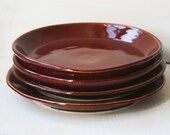 Reserved for TM CALAS - Rustic Dinner Plates in Deep Red Garnet - Miss Matched Shaped Set of Four Stoneware Dishes - Handmade Pottery