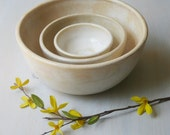 Nesting Bowls - White Set of Rustic Handmade Ceramic Pottery Bowls - Three Piece Set of Stacking Bowls in Creamy White Honey Glaze