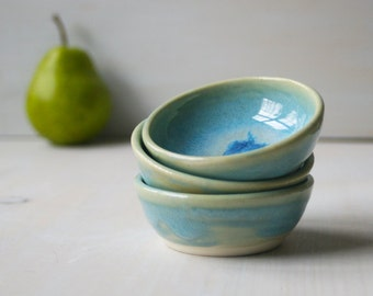 Blue Prep Bowls - Sea Glass Blue Small Kitchen Bowls - Set of Three Small Ceramic Pottery Bowls
