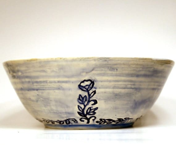 Large Serving Bowl - Rustic - Watercolor Blue - Flower Stamped