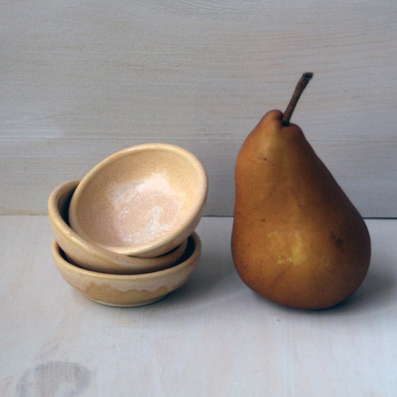Prep Bowls - Set of Three Rustic Creamy Glazed Stoneware Bowls - Small Handmade Ceramic Pottery Dipping Bowls Ready to Ship Made in USA