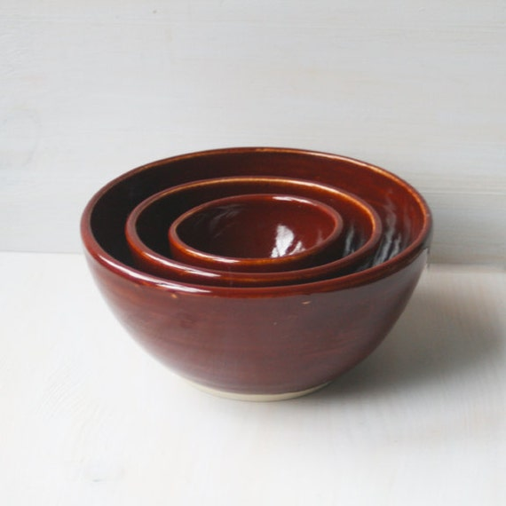 Nesting Bowls, Handmade Ceramic Kitchen Pottery Bowls, Three Piece Set of Rustic Stacking Bowls in a Deep Garnet Glaze