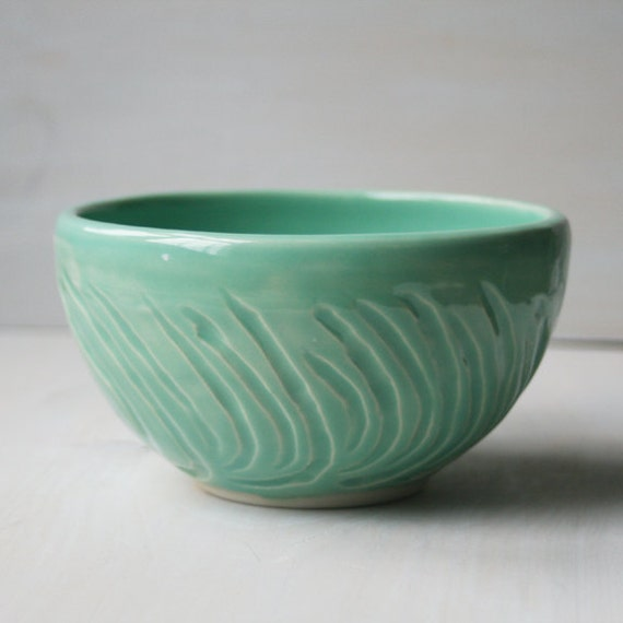 Ceramic Bowl in Aqua Glaze - Hand Carved Bowl - Handmade Pottery Bowl - OOAK