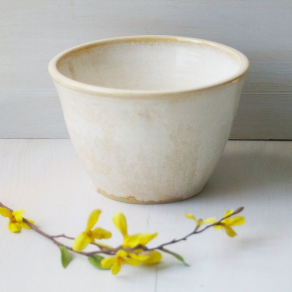 Flower Pot - Planter - Creamy White - Handmade Ceramic  Rustic Planter - Stoneware Pottery