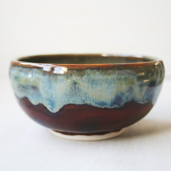 Ceramic Bowl - Handmade Pottery Bowl with Dripping Edges Multi colored Wheel Thrown Ready to Ship Made in the USA
