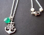 Silver Necklace w/ Green Onyx and Nautical Anchor Charm