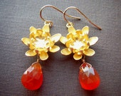 Gold Earrings with Blossoms and Vibrant Carnelian Drops