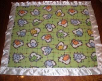 Green fleece baby blanket