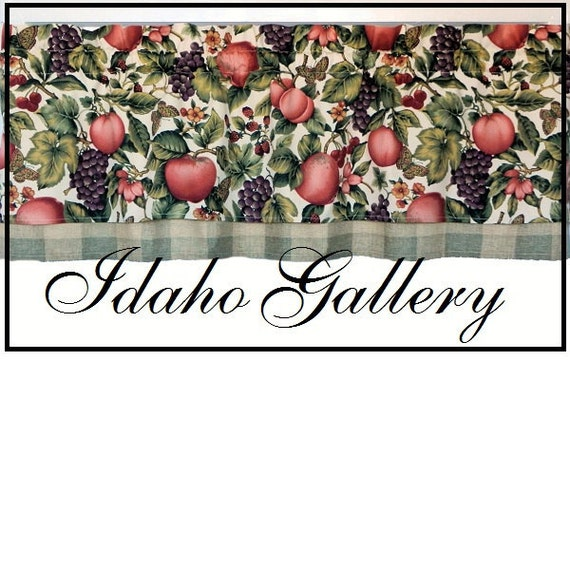 Window Treatment Kitchen Curtain Double layered Fruit and Plaid Valance