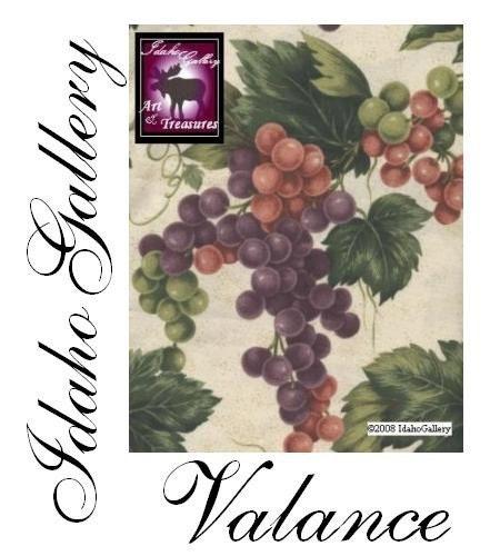 Vineyard Tuscany Grape Valances Curtains Burgundy Green Gold