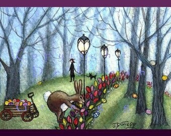 Easter Morning In the Park   A Tiny Rabbit Easter Egg PRINT  ACEO Art Card size 2.5 x 3.5 inches By Deborah Gregg