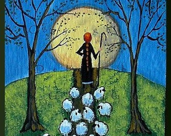 Road Block  A Tiny Sheep Full Moon Shepherdess Print aceo size by Deborah Gregg