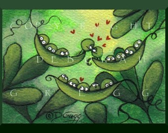 Love Sprouts Among The Pea Pods  An aceo  Spring Peas PRINT